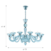 Drawing of Marcella Blue Glass Chandelier with dimensions