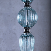 Close up of blue glass stem of Marcella Blue Glass Chandelier