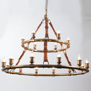 Redford Leather Round Chandelier