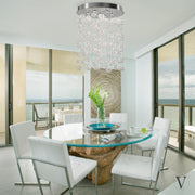 Bella Glass Bubbles Chandelier installed over a dining room table