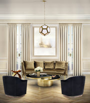 Lamont Satin Brass Pendant shown installed in a living room setting