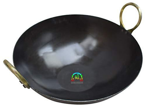 12 INCH INDIAN PURE IRON LOHA KADHAI DEEP FRYING PAN KADHAI FOR FRYING, COOKING