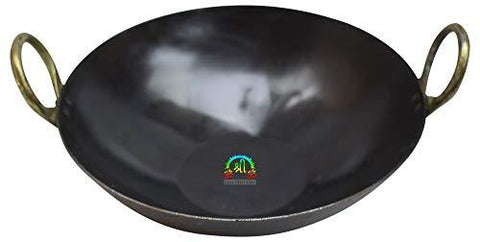 10.5 INCH INDIAN PURE IRON LOHA KADHAI DEEP FRYING PAN KADHAI FOR FRYING, COOKING