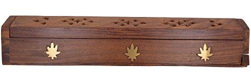 "Cavelio  Rose Wooden Coffin Incense Burner - Jali and Cannabis Leaf 12"" - Brass Inlays & Storage - wallets for men's at mens wallet"