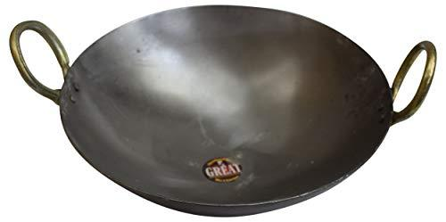 9 to 10inch Indian Pure Iron Loha Kadhai Deep Frying Pan Kadhai For Frying, Cooking by Marshal - wallets for men's at mens wallet