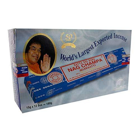 Satya Sai Baba Nag Champa Agarbatti Pack of 12 Fine Quality Incense 15 gramx12 packs