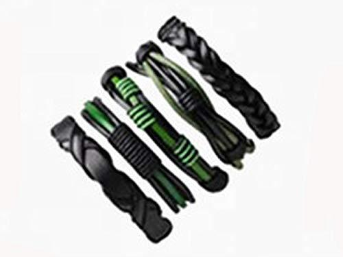 Marshal 5 PCS Leather Bracelet Braided Sporty Wide Wristband Punk Jewelry for Men Women Green Black - wallets for men's at mens wallet