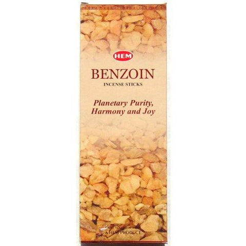 Benzoin Incense - Hem 20 Stick Hex Tubes - Sold in a set of 4 tubes