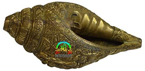 Rare Blowing Shankh Conch Shell Brass Indian Home Decor Hinduism Engraved Tradition Hindu God Wealth and Health - wallets for men's at mens wallet