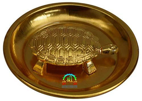 OM SHRI OM Vastu Tortoise with Plate - Brass Statue for Good Luck - wallets for men's at mens wallet