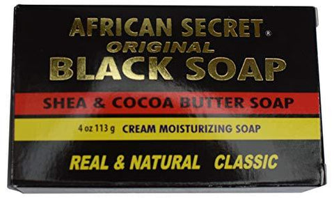 African Secret Original Black Soap With Shea and Cocoa Butter Soap 2 bars