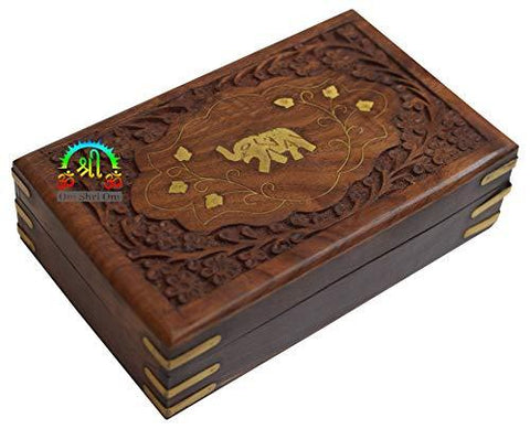Gorgeous Hand Carved Rosewood Trinket Jewelry Box Elephant Design with Velvet Interior - menswallet