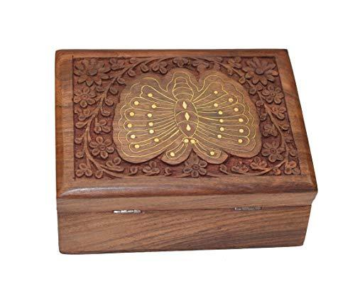OM SHRI OM Rosewood Ladies Box Jewelry Organizer Handcrafted India Product Decorative Design - wallets for men's at mens wallet