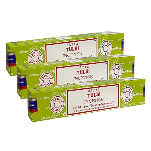 Satya Tulsi Agarbatti Pack of 3 Incense Sticks Boxes, 15 gms Each, Traditionally Handrolled in India