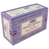 SATYA Nag Champa French Lavender Agarbatti | Handrolled Masala Incense Sticks | 12 Packs of 15 Grams Each in a Box | Export Quality Product