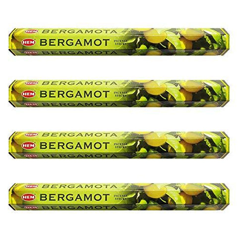 HEM Bergamot Incense Sticks Agarbatti Masala - Pack of 4 Tubes, 20 Sticks Each Box, Total 80 Sticks - Quality Incense Hand Rolled in India for Healing Meditation Yoga Relaxation Prayer Peace