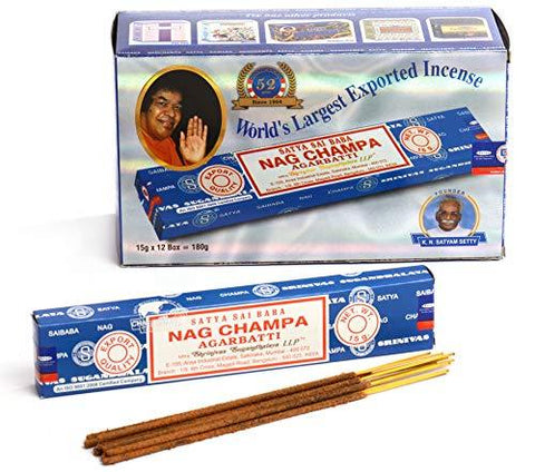 Satya Sai Baba Nag Champa Agarbatti Pack of 12 Incense Sticks Boxes 15gms Each Fine Quality Incense Sticks