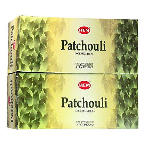 Hem Patchouli Agarbatti Pack of 12 Incense Sticks Boxes, 20gms Each, Traditionally Handrolled in India Aeromatic Natural Fragrance for Prayers, Meditation, Yoga, Relaxation, Peace, Healing, Posotivity
