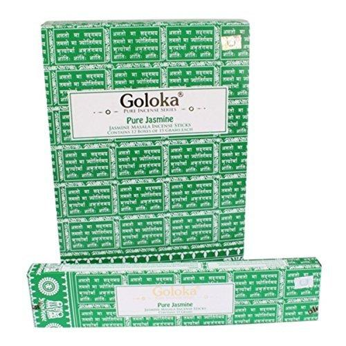Goloka - Pure Jasmine -Incense Sticks - 12 Boxes of 15 Grams ( 180 Grams Total ) - wallets for men's at mens wallet