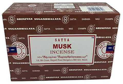 Satya Sai Baba Nag Champa - Musk Incense Sticks Box - Pack of 12 (15 Gram) - wallets for men's at mens wallet
