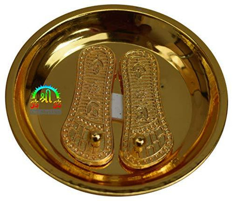 Brass Shri Maa Laxmi Charan Paduka with Plate Astrology Vastu Fengshui - wallets for men's at mens wallet