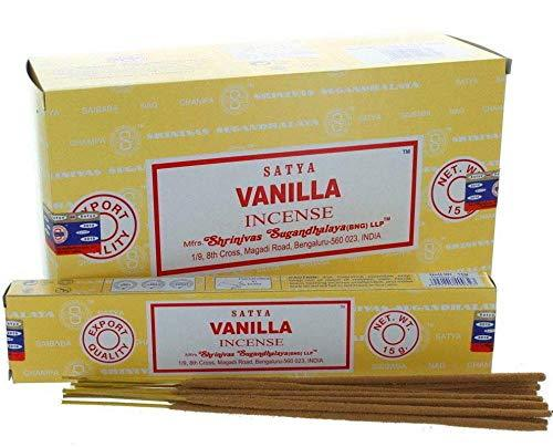 Satya Vanilla Incense Sticks Agarbatti Indian Natural Fragrance Hand Rolled Pack of 3