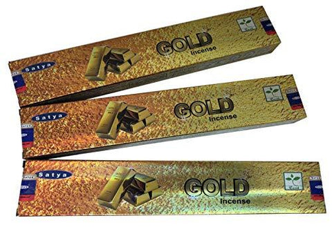 Satya Gold Incense Sticks - Pack of 3 (15 Gram Each)