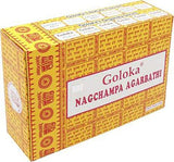 Goloka Nag Champa Incense Sticks Agarbatti Indian Natural Fragrance Hand Rolled Pack of 6