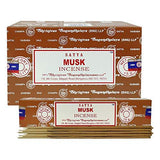 Satya Musk Agarbatti Pack of 12 Incense Sticks Boxes, 15 GMS Each, Traditionally Handrolled in India