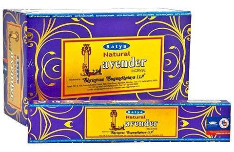 Satya Natural Lavender Incense Sticks/Agarbatti | 15 Grams x 12 Packs | Box of 180 Grams | Export Quality
