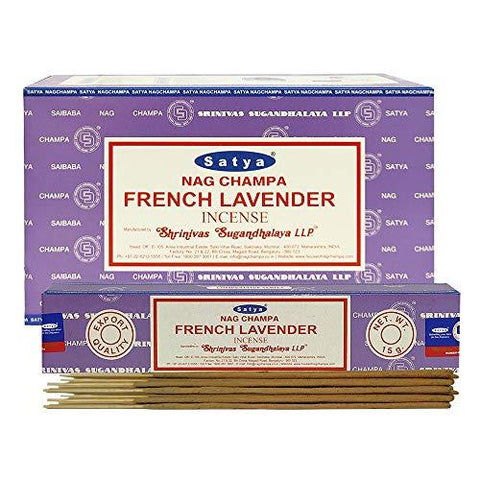 Satya Nag Champa French Lavender Incense Sticks Pack of 12 Boxes 15gms Each Hand Rolled Agarbatti Fine Quality Incense Sticks for Purification, Relaxation, Positivity, Yoga, Meditation