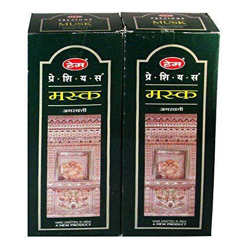 Hem Precious Musk Agarbatti Pack of 12 Incense Sticks Boxes, 20gms Each, Traditionally Handrolled in India Best Aeromatic Natural Fragrance Perfect for Meditation, Relaxation, Peace, Yoga, Positivity