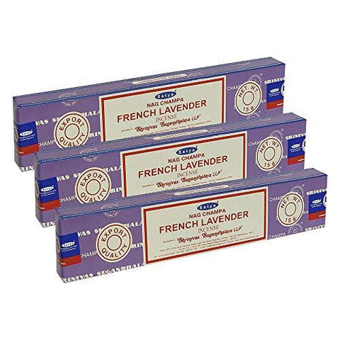 Satya Nag Champa French Lavender Incense Sticks Pack of 3 Boxes 15gms Each Hand Rolled Agarbatti Fine Quality Incense Sticks for Purification, Relaxation, Positivity, Yoga, Meditation