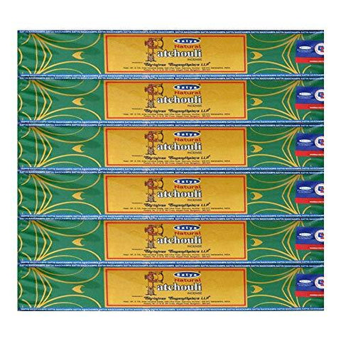 Satya Natural Patchouli Agarbatti Pack of 6 Incense Sticks Boxes, 15gms Each, Traditionally Handrolled in India, Candles with Natural Scent for Prayers, Meditation, Yoga, Relaxation, Positivity, Peace