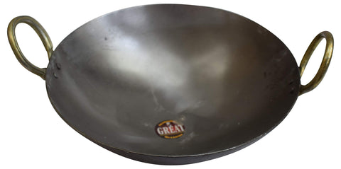 11 Inch Indian Pure Iron Loha Kadhai Deep Frying Pan Kadhai For Frying, Cooking by Marshal - wallets for men's at mens wallet