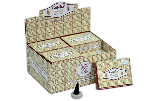 Goloka Chandan cone incense - 12 Boxes