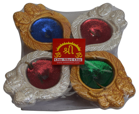 Set of 4 New Decorative Diya Oil Lamp Indial Traditional Puja Festival Gift - wallets for men's at mens wallet