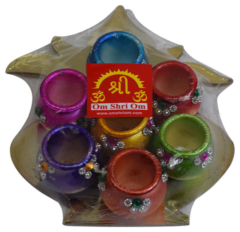 Colorful Decorative Diya Set of 7 Diwali Festival Indian Gift Oil Lamp Divali Pooja Item