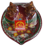 New Large Special Clay Diya Ganesh & Laxmi Diwali DEcoartive Oil Lamp Indian Item Gift - wallets for men's at mens wallet