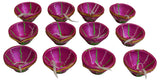 12 Pcs Set Diwali Clay Diya with Cotton Wicks Indian Religious Item Celebration Oil Lamp - wallets for men's at mens wallet