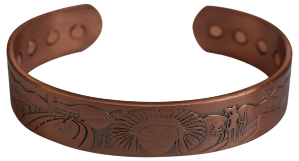 Pure Copper Native Indians Logo Bracelet With Strong Magnets Therapy Healing Pain - wallets for men's at mens wallet