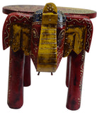 Colorful Wooden Elephant Stool Wood Footstool Gift - wallets for men's at mens wallet