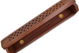 "Cavelio Rose Wooden Coffin Incense Burner - Jali and Sun-Moon-Stars12"" - Brass Inlays & Storage Compartment"