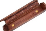 "Cavelio Rose Wooden Coffin Incense Burner - Jali And Om 12"" - Brass Inlays & Storage Compartment"