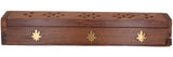 Cavelio Rose Wooden Coffin Incense Burner - Jali and Cannabis Leaf 12""