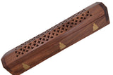 "Cavelio Rose Wooden Coffin Incense Burner - Buddha 12"" - Brass Inlays & Storage Compartment"