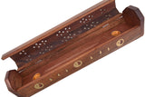 "Cavelio Rose Wooden Coffin Incense Burner - Jali and Ying Yang Leaves 12"" - Brass Inlays & Storage Compartment"