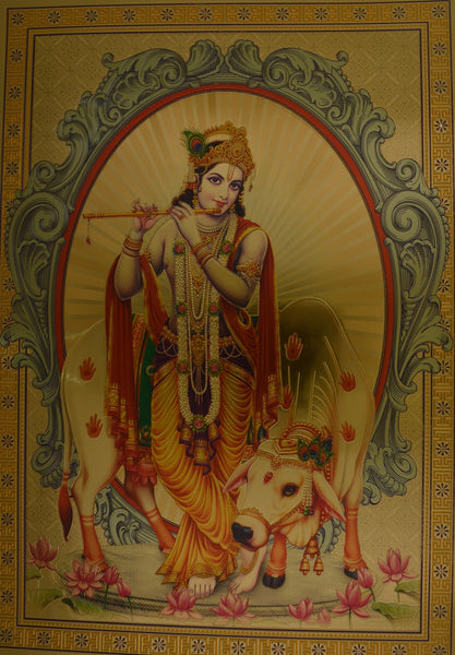 "Religious Poster Lord Krishna & Cow Picture Size: 8.5"" x 12"" unframed - wallets for men's at mens wallet"