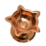 Set of 2 Copper Diyas with Five Edges, Panchmukhi Copper Diya