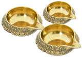 Set of 2 Decorative Brass Kuber Diya Oil Lamp India Religious Item - Small, Medium or Large